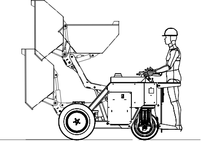 Outlined drawing of Ecovolve dumper